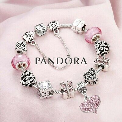 AU100.22 • Buy AUTHENTIC PANDORA Sterling Silver Bracelet With European Pink Heart Charms