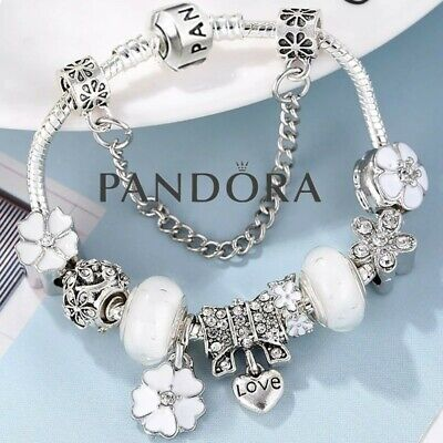 AU100.22 • Buy Authentic Pandora Snake Chain Bracelet Silver With Love Flower European Charms