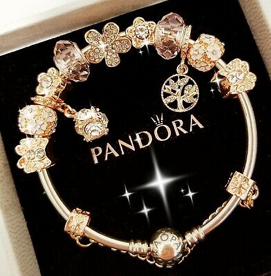 AU94.71 • Buy Authentic Pandora Bracelet Silver Bangle With Rose Gold Flower European Charm