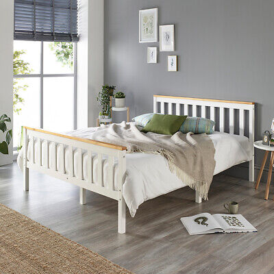 £254.99 • Buy Aspire Beds Solid Wood White Bed Frame Choice Of Natutral Wood Tops All Sizes