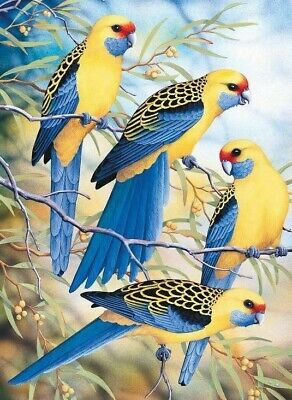 AU15.99 • Buy 5D Diamond Painting Budgies/Parrots Blue & Yellow Full Round Diamonds D.I.Y.Kit