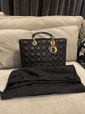 Christian Dior Lady Dior Black Patent Lambskin Bag Large With Box And Dustbag • 2,500£