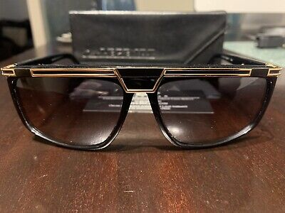 $200 • Buy 100% Authentic Cazal Mod. 8036 Gloss Black Gold Sunglasses Made In Germany