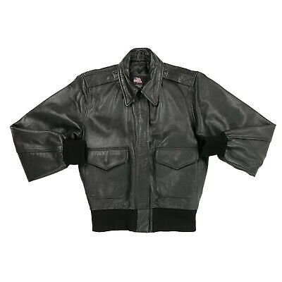 $106.08 • Buy US WINGS A-2 Leather Flight Jacket Brown Military Bomber Women's Size Small