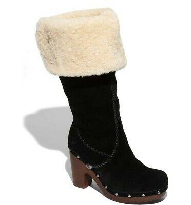 £36.56 • Buy UGG  LILLIAN Tall Black Suede And Shearling Knee High Clog Boots Size 7