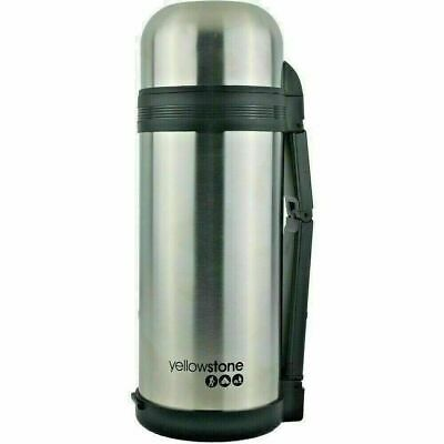 £12.99 • Buy Thermos Flask 1.5L Stainless Steel Carry Handle & Strap Hot / Cold Silver New UK