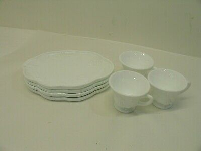 $10 • Buy *Indiana Colony Milk Glass White Harvest Grape Snack Luncheon Cup & Plate Set*
