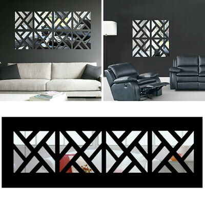 32X Mirror Tile Wall Sticker Square Self Adhesive Room Bathroom Decor Stick Art • 8.39£