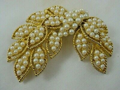 $9.99 • Buy Signed M. JENT Seed Pearl Cluster Pin Brooch
