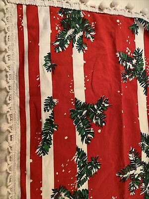 $ CDN23.05 • Buy Vintage Retro Christmas Cotton Fabric Tablecloth Pompom Trim  Holly Red Mod