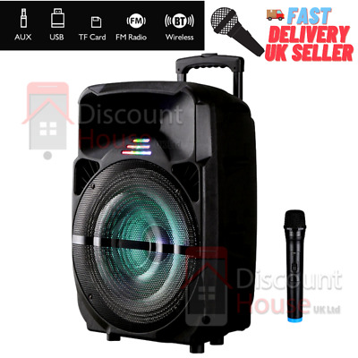 £94.99 • Buy Wireless Bluetooth Stereo Super Bass Trolley Speaker 15 Inch With Mic Lights