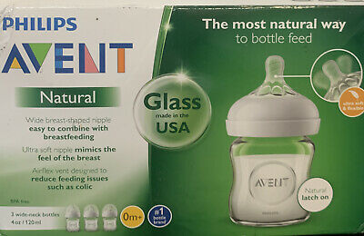 AU29.53 • Buy Philips AVENT 4oz Natural Glass Baby Bottle - 3 Pack *NEW* FREE SHIPPING