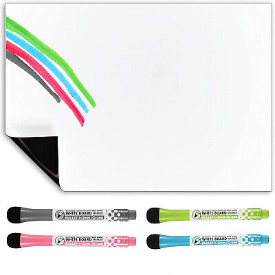 £8.95 • Buy Magnetic Whiteboard And Dry Wipe Pens, Weekly Planner Or Notice Board For Fridge