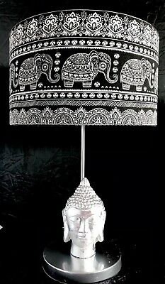 £50 • Buy Silver Buddha Table Lamp/New Handcrafted Ethnic:Elephant Lamp Shade/Silver Inner