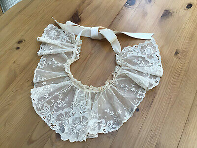 Guipure Vintage Lace Collar In Ivory With Ribbon Ties • 7.99£