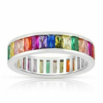 £25.06 • Buy Silver Rainbow CZ Baguette Eternity Ring Real Sterling Silver 925