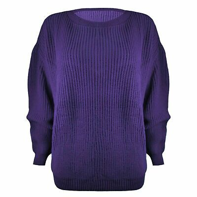 £9.48 • Buy Ladies Womens Chunky Basic Knitted Casual Cosy Baggy Winter Jumper Top Size S-xl