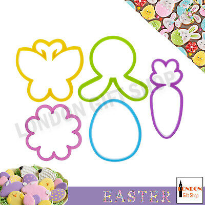 Easter Cookie Cutters Bunny Egg Flower 5 Biscuit Shapes Kids Craft Bake Cook New • 3.39£