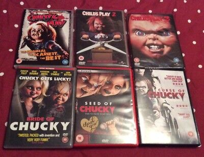 Child's Play, 2, 3, Bride Of Chucky, Seed Of Chucky And Curse Of Chucky DVD's • 31.99£