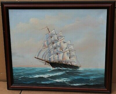 Large Wooden Framed Oil Painting On Canvas Of A Ship At Sea Signed Ambrose • 10.50£