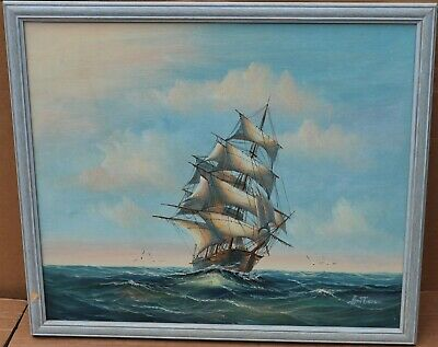 Large Framed Oil Painting On Canvas Of A Ship At Sea Signed Ambrose • 17£