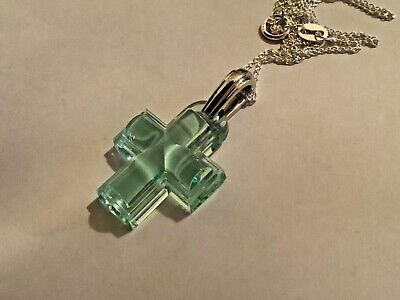 Lalique Aqua Crystal And Hallmarked Silver Cross Pendant - New • 95£