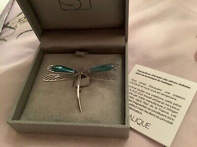Lalique Silver Blue Dragonfly Brooch Pin  New Boxed With Paperwork • 275£