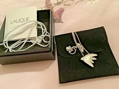 Lalique Beautiful Hallmarked Silver And Glass Swallow Pendant With Paperwork • 225£