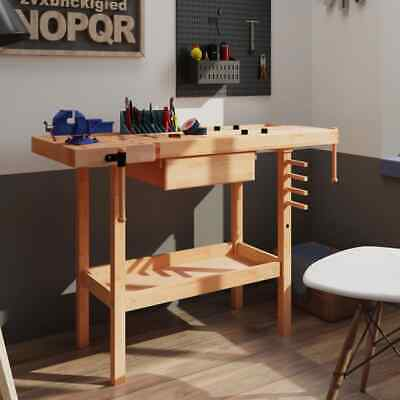 £122.99 • Buy VidaXL Carpentry Workbench With Drawer And 2 Vices Hardwood Wooden Work Table