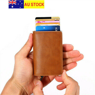 AU13.50 • Buy RFID Blocking Quality Leather Credit Card Holder Wallet With Pop Up Card Case