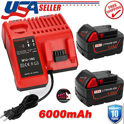 $44.99 • Buy Battery For Milwaukee M18 Fuel 48-11-1860 XC 6.0 Ah With Rapid Charger Starter
