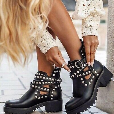 £24.99 • Buy Womens Ladies Ankle Buckle Cut Out Studs Chelsea Platform Heel Summer Boots Size