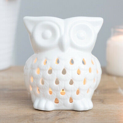 Owl Ceramic Oil Burner / Warmer For TeaLight Candle Tart Wax Melts Aromatherapy • 8.99£