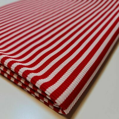 Red White Knit Poly Viscose Rayon Jersey Stretch Stripe Fabric 58  By The Meter • 2.50£