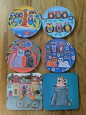 £8.69 • Buy Antropology Coasters 6 Different Themes( Cat, Owl )