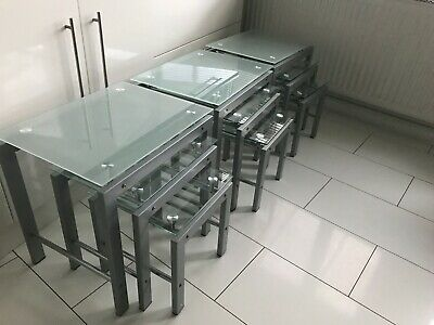 Nest Of 3 Tables Grey Metal And Glass 3 Sets Available & Matching Console • 30£