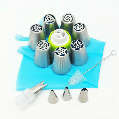 UK 15pcs Russian Leaf Flower Icing Piping Nozzle Tips Cake Topper Baking Tools • 7.29£