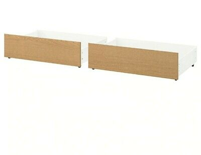 SEE DESCRIPTION Brand New Ikea Malm Under Bed Storage Boxes Drawers - Oak Veneer • 46£