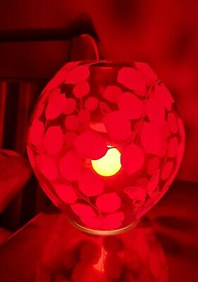 Ikea Red Glass Knubbig Table Bedside Lamp Butterflies And Leaves • 9£