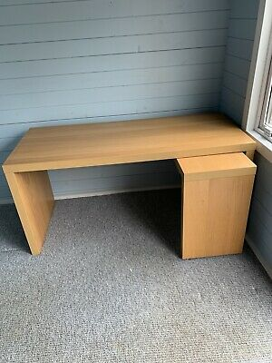 Ikea Malm Desk With Pull Out Section In Oak Veneer • 40£