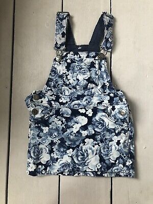 H&M  Girls Navy Floral Cord Dungaree Dress 2-3 Years • 1.50£