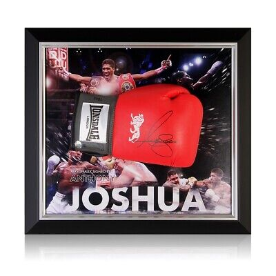 AU994 • Buy Anthony Joshua Signed Red Boxing Glove. Framed