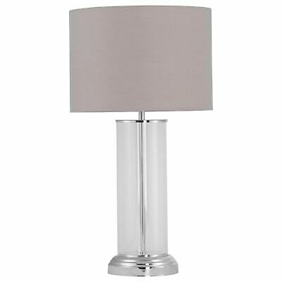 £29.99 • Buy Modern Touch Control Glass Column 53cm Table Lamp Bedside Light Grey Shade