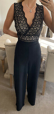 Lipsy Black Lace Scollop Jumpsuit Size 16 New With Tags • 19.99£