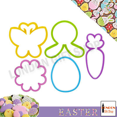 5 X Easter Kitchen Cookie Cutters - Bunny Egg Carrot Flower Butterfly Baking  • 2.99£