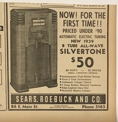 $ CDN5.01 • Buy 1938 Newspaper Ad For Sears 1939 Silvertone 8 Tube All-Wave Radio, Features List