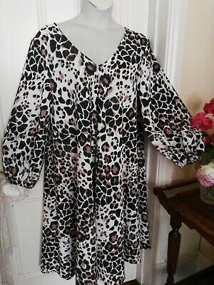 AU12.95 • Buy Animal Print Fabric Dress By Asos Curve Made In The Uk Plus Size