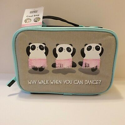 Polar Gear Cool Lunch Bag Dance Panda Tutu Grey Pink Kids School New With Tags • 10.99£