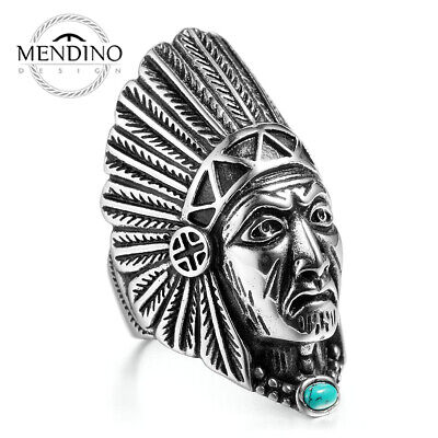 £9.99 • Buy MENDINO Men's Indian Chief Head Turquoise Stainless Steel Ring Punk P ½-Z ½