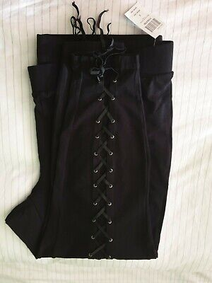 Hot Topic Black Stretch Lace Up Leggings Size 3(22/24) NEW W/tag Rock Metal Goth • 25£